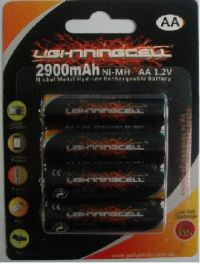 LIGHTNINGCELL 2900MAH AA RECHARGEABLE NIMH 4 PACK BATTERIES